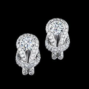 2.25 ct knot style diamond stud earring white gold